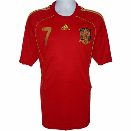 2007-2009 Spain Home Football Shirt #7 Villa Adidas Large (Excellent Condition)